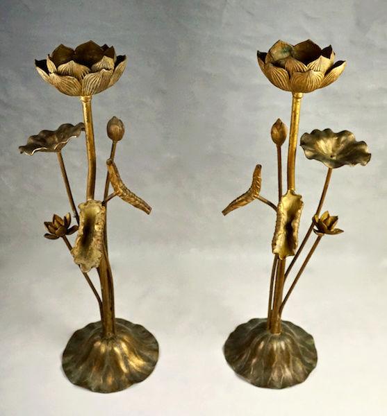 Pair of Large Gilt Metal Lotus Flower Lamp Bases? Lotus_22