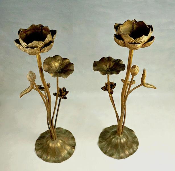 Pair of Large Gilt Metal Lotus Flower Lamp Bases? Lotus_23
