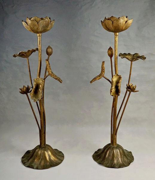 Pair of Large Gilt Metal Lotus Flower Lamp Bases? Lotus_24