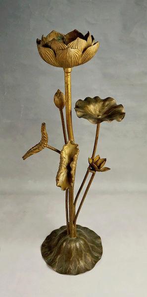 Pair of Large Gilt Metal Lotus Flower Lamp Bases? Lotus_25