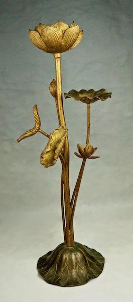 Pair of Large Gilt Metal Lotus Flower Lamp Bases? Lotus_26