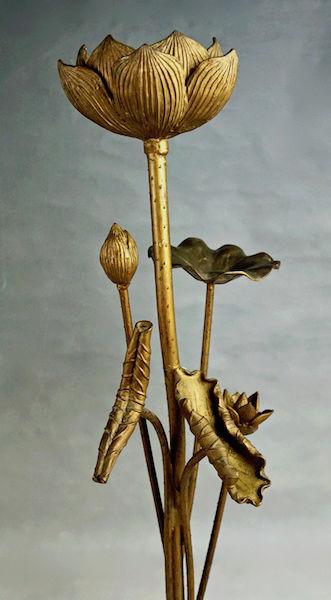 Pair of Large Gilt Metal Lotus Flower Lamp Bases? Lotus_27