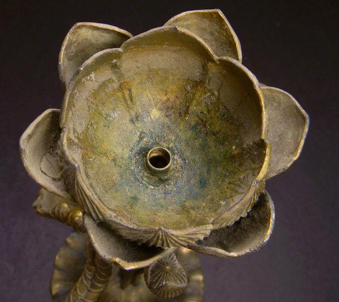 Pair of Large Gilt Metal Lotus Flower Lamp Bases? Lotus_29