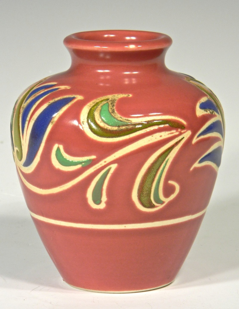 Dark Pink Rose Colored Vase with Stylized Flower Design, Unidentified Mark Mauvev10