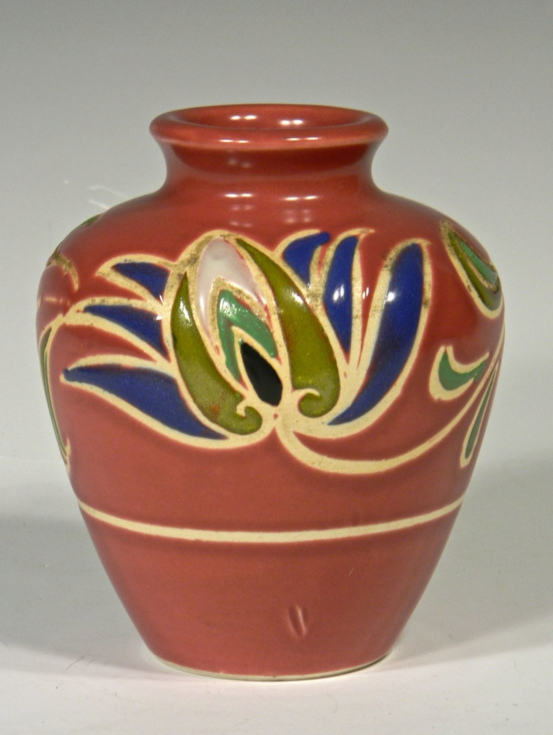 Dark Pink Rose Colored Vase with Stylized Flower Design, Unidentified Mark Mauvev11