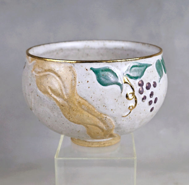 Pottery Bowl With Relief Painted Women's Faces, Signed Women_10