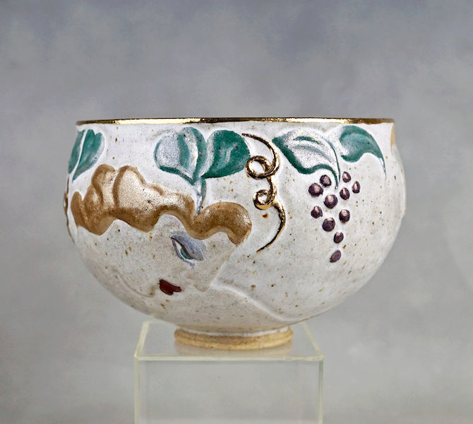 Pottery Bowl With Relief Painted Women's Faces, Signed Women_11