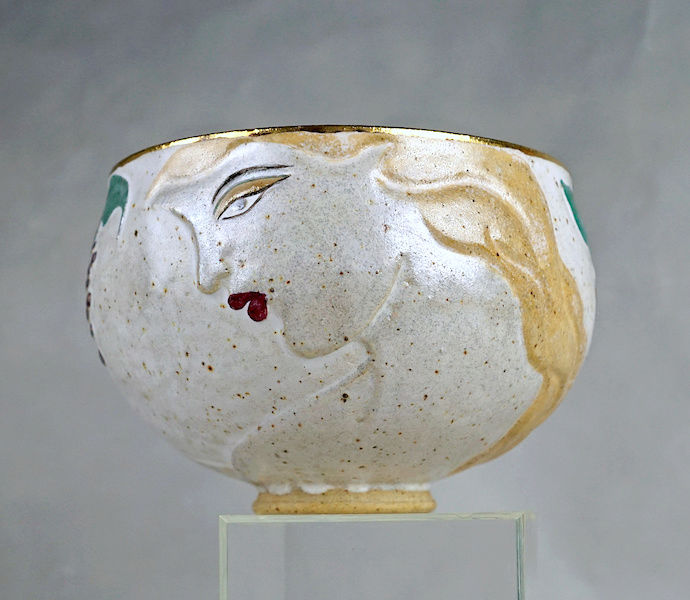 Pottery Bowl With Relief Painted Women's Faces, Signed Women_12