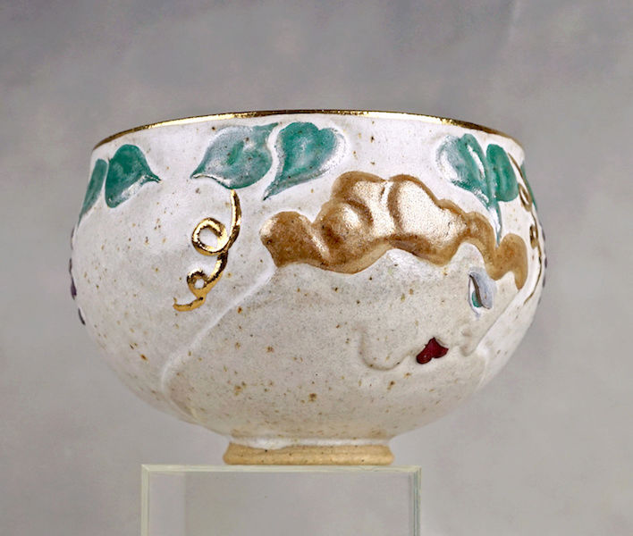 Pottery Bowl With Relief Painted Women's Faces, Signed Women_13