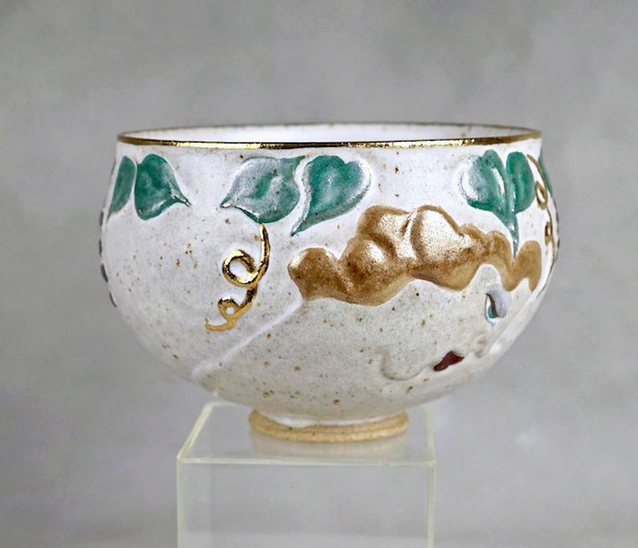 Pottery Bowl With Relief Painted Women's Faces, Signed Women_14