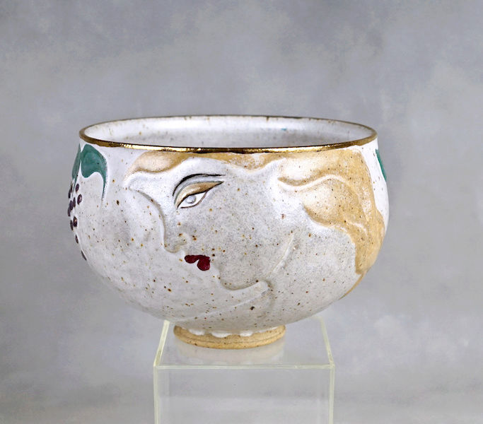 Pottery Bowl With Relief Painted Women's Faces, Signed Women_15