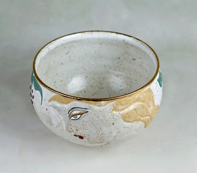 Pottery Bowl With Relief Painted Women's Faces, Signed Women_18