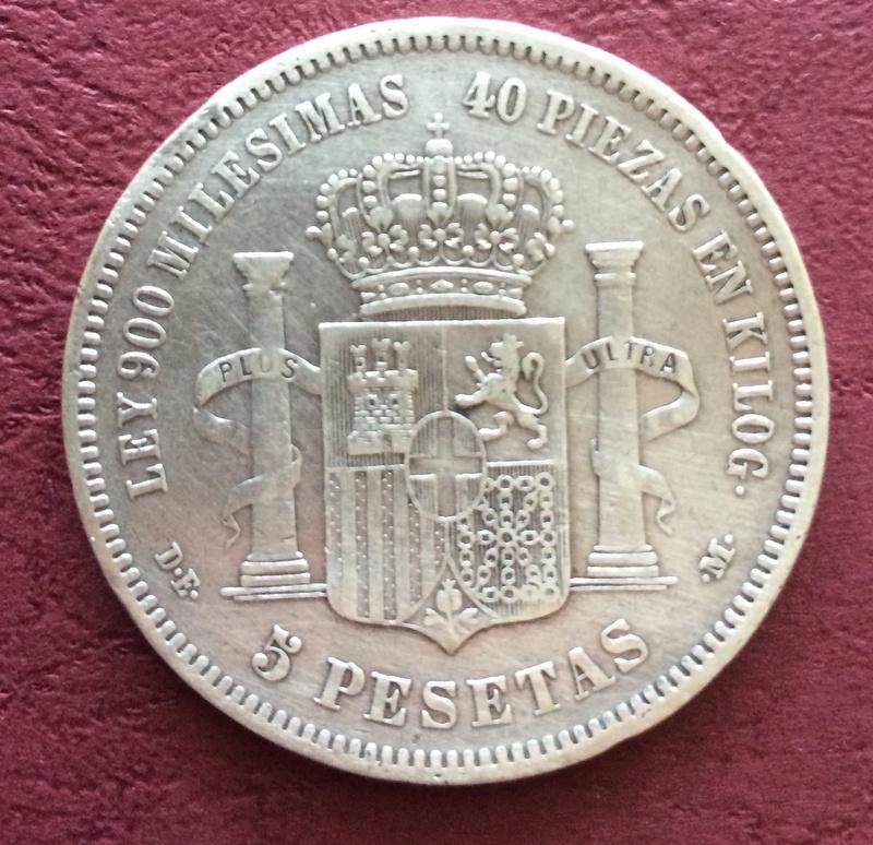 5 pesetas 1871 (*18-75). Amadeo I. Ayuda en el grado de conservación. Image78