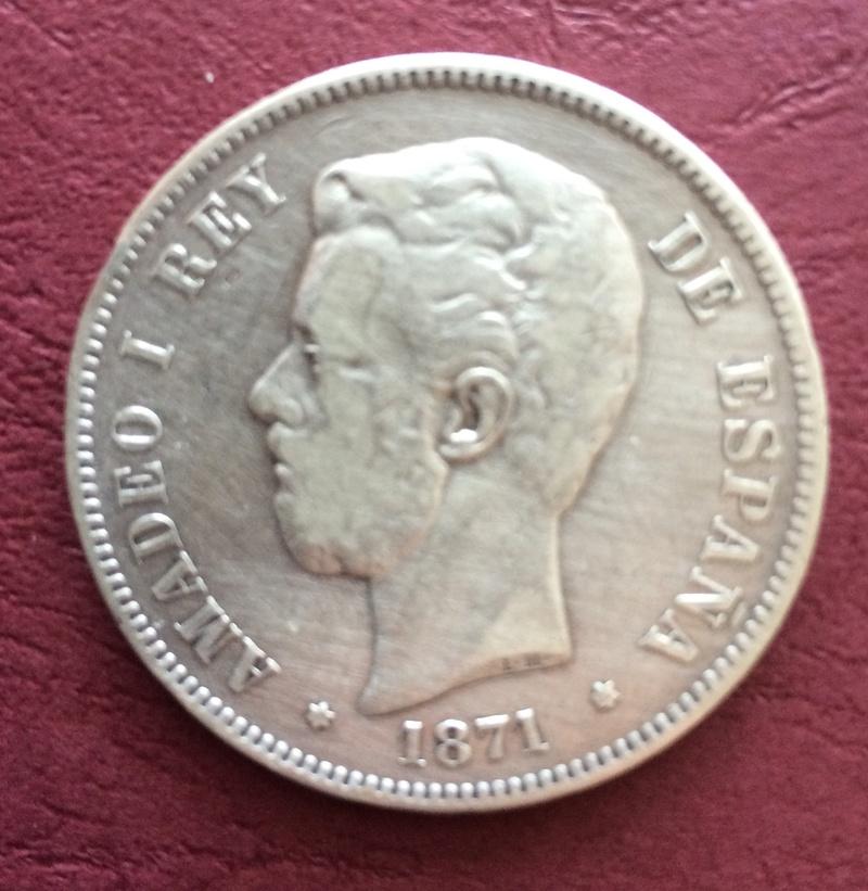 5 pesetas 1871 (*18-75). Amadeo I. Ayuda en el grado de conservación. Image79