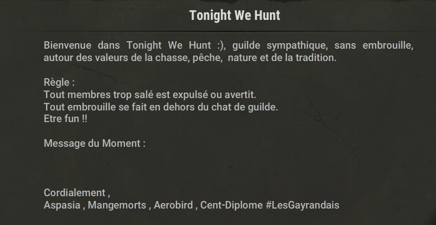 "Candidature de la guilde ""Tonight We Hunt"". Screen12"