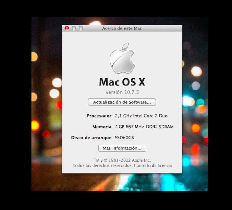 Macbook 4,1 ( Principios de 2008) Core 2 Duo 2,1Ghz 4GB Ram SSD 64GB + HD 500GB Captur16