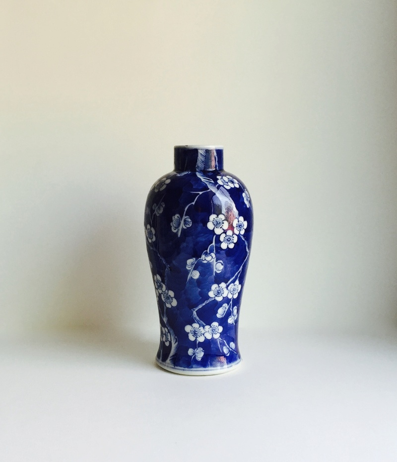 Chinese BLUE AND WHITE PRUNUS PATTERN VASE faux-KANGXI 4 CHARACTER MARK Img_8425