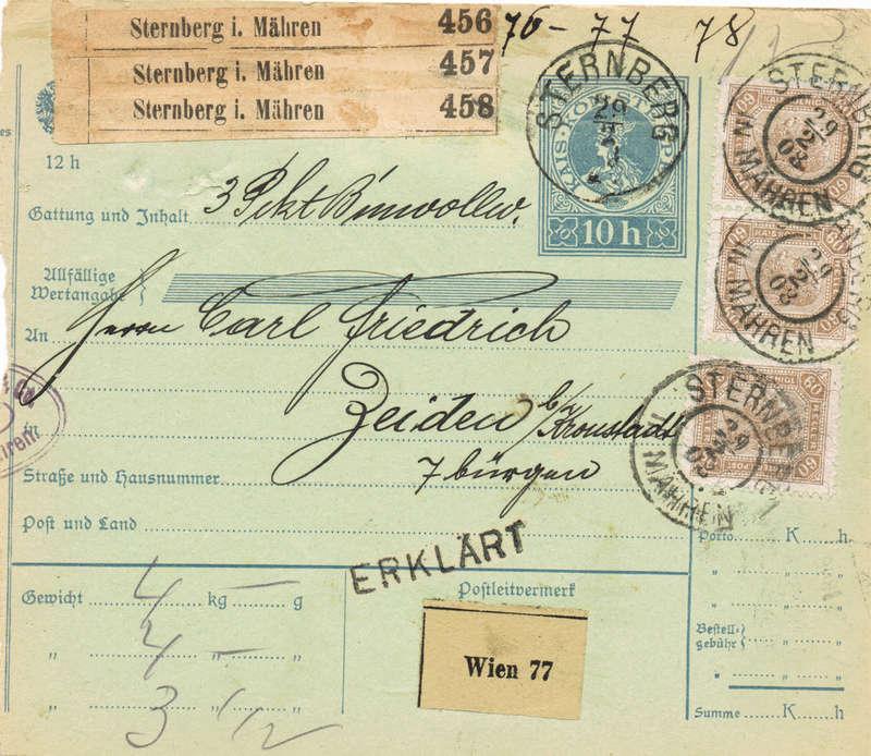 Postbegleitadressen mit fiskalischem Werteindruck Gz10