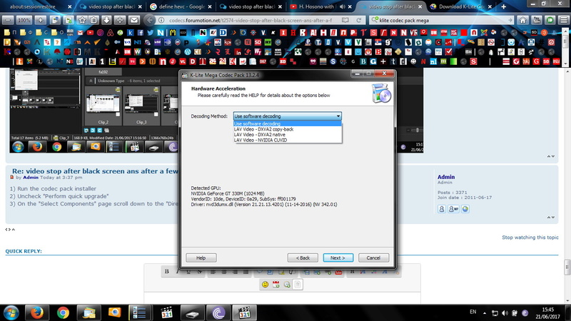 video stop after black screen ans after a few seconds it accelerates / Ryzen / x265 Clip_910