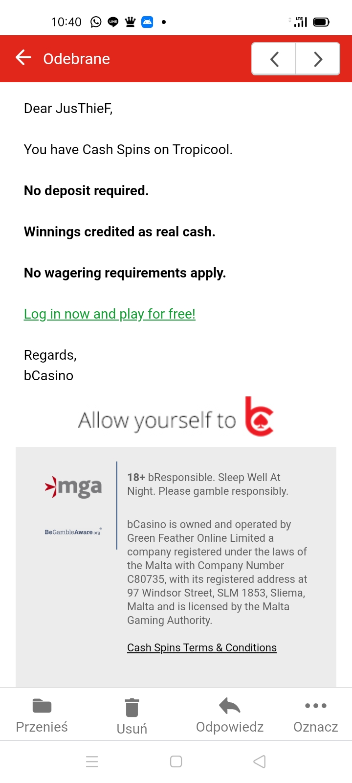 bcasino online 5 EUR bez depozytu Screen16
