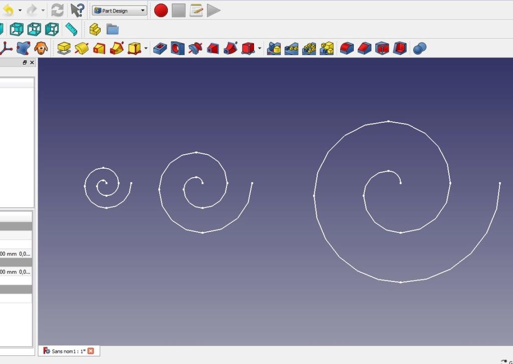 """Comment dessiner une forme de """"goutte"""" sur Freecad Spiral10"""