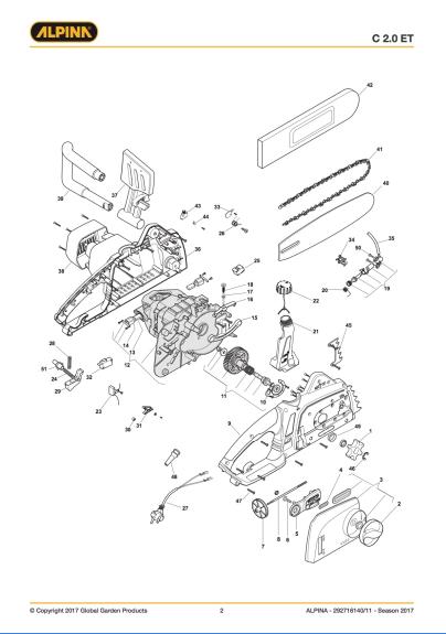 sostituzione pompa olio elettrosega Alpina C2.0 ET Esplos10