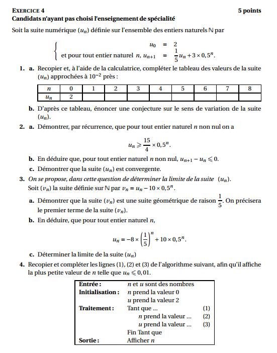 Maths: SUITES pour s'entraîner Antill10
