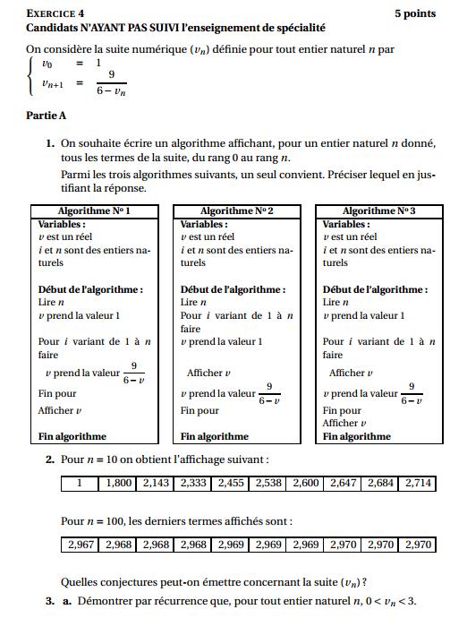 Maths: SUITES pour s'entraîner Suites10