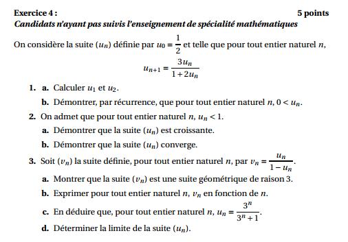 Maths: SUITES pour s'entraîner Suites13