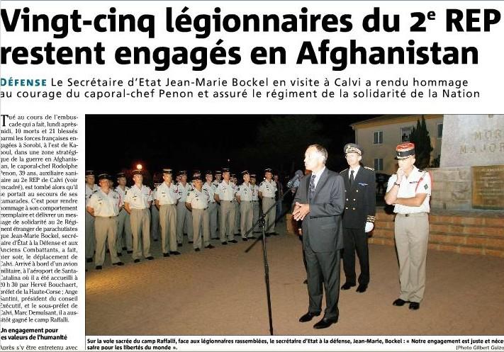EMBUSCADE afghanistan du 18 aout 2008- 1 mort 2 REP CCH PENON Penon110