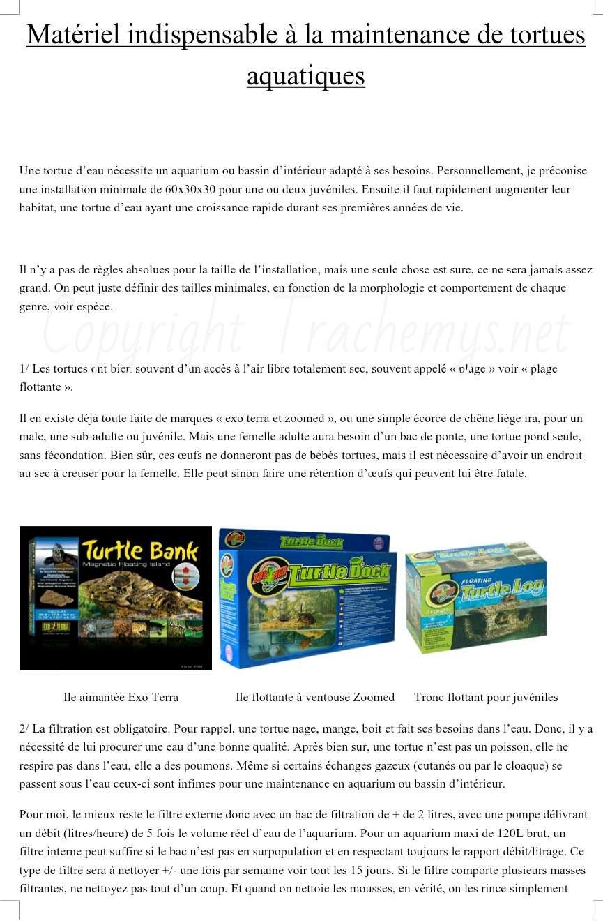 Matériel indispensable en interieur pour les tortues aquatiques 14177110