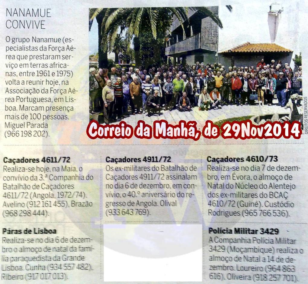 Encontros Convívios de ex-Militares Portugueses, in Correio da Manhã, de 29Nov2014 Encont11