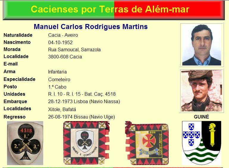 Faleceu o veterano Manuel Carlos Rodrigues Martins, da CCS/BCac4518/CTIG - 03Dez2014 Manuel10