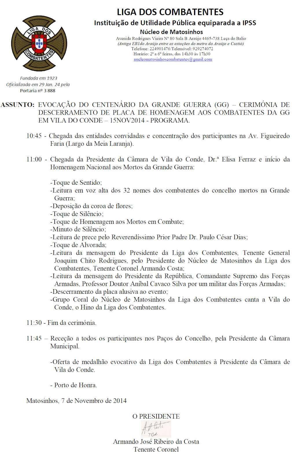 Evocação do Centenário da Grande Guerra - Vila do Conde - 15 de Novembro de 2014 Vilado10
