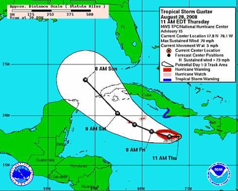 Gustav threatens Jamaica, new storm in Atlantic Gustav10