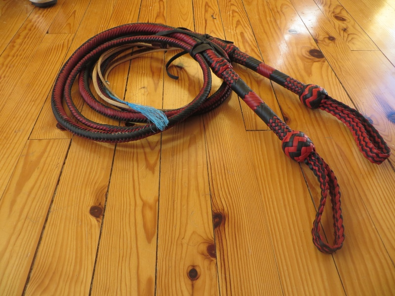 7ft black and red bullwhip pair Img_4712