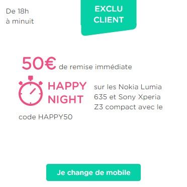 Happy Night: 50€ de remise jusqu'à minuit en renouvellement Happun10