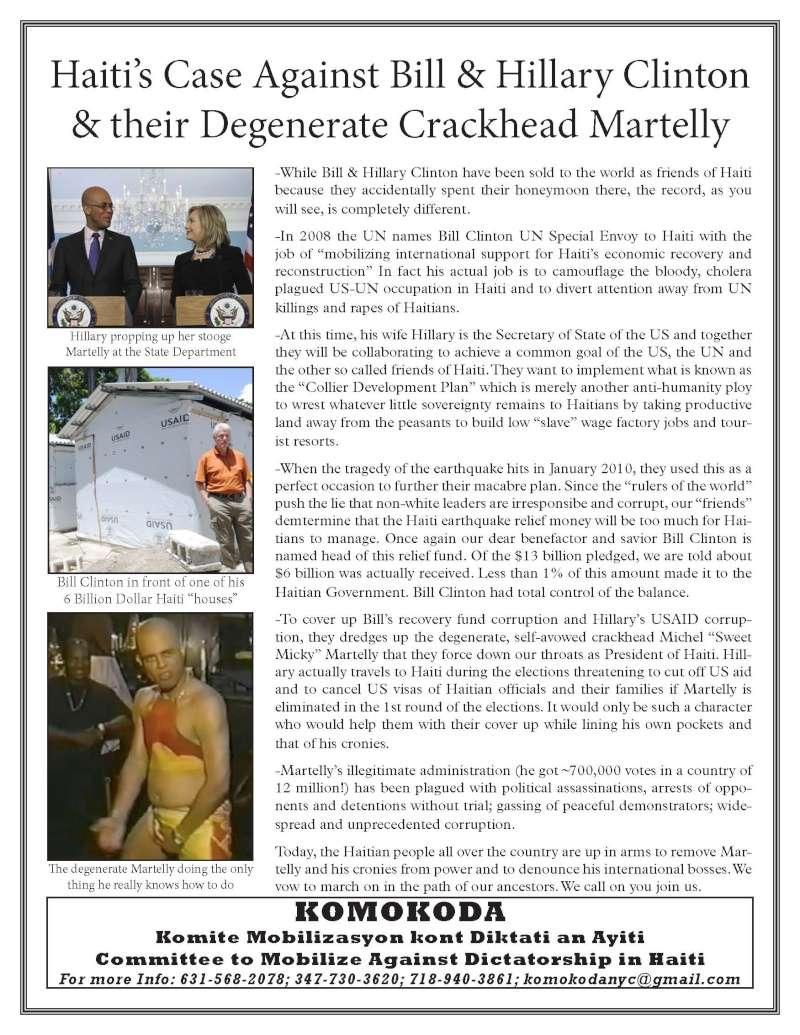 Haiti's Case vs Bill & Hillary Clinton & their Degenerate Crackhead Martelly 12-5-110