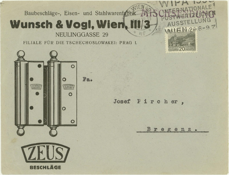 Werbeumschläge und -karten aus Österreich Beschl10
