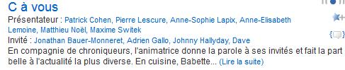 Johnny 'c'est à vous' france 5 21/11/2014 Captur24