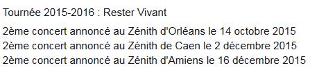 """Tournée 2015/2016 de johnny """"RESTER VIVANT """" Dates de tournée et Part 1 les festivals Captur33"""
