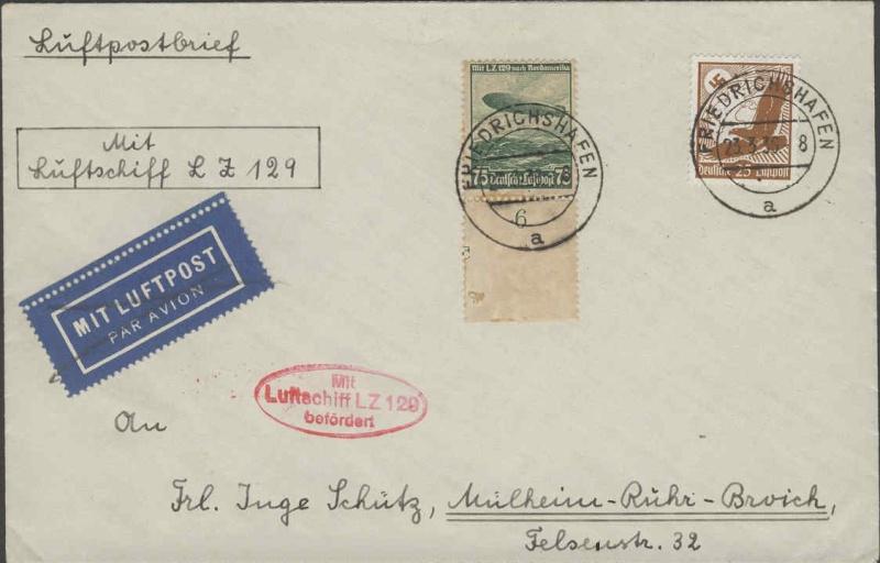 Zeppelinpost des LZ 129 0137