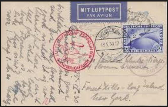 nach - Südamerikafahrt 1930, Post nach Rio de Janeiro 0142