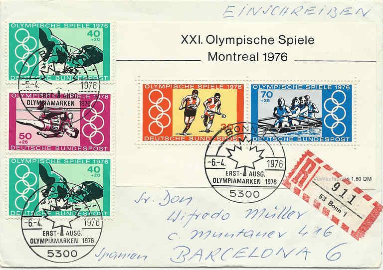 Olympische Spiele 1976 Fdc_mo10