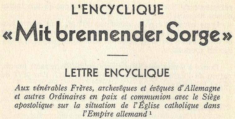 Mit brennender Sorge, 14 mars 1937 (sujet le national-socialisme) Pie_xi10