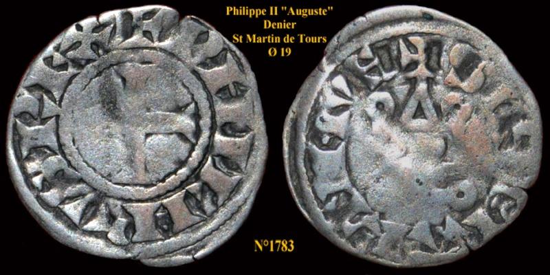 Denier St Martin de Tours pour Philippe Auguste 178310