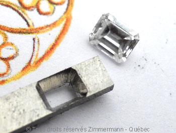 Solitaire palladium avec diamant taille émeraude de 43/100 ct Sopa0817