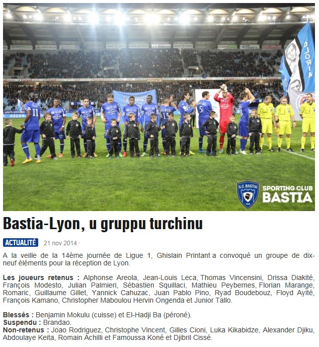 J14 / Jeu des pronos - Prono Bastia-Lyon S22