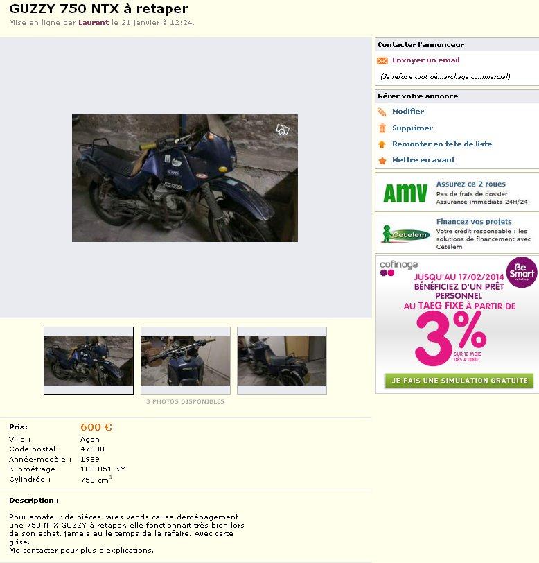 Guzzi 750 NTX revenue de loin Ntx1010