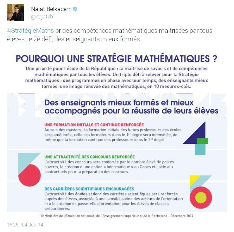 """04 décembre 2014, 15h : Najat Vallaud-Belkacem développe les trois axes de sa """"Stratégie mathématiques"""". Screen10"""
